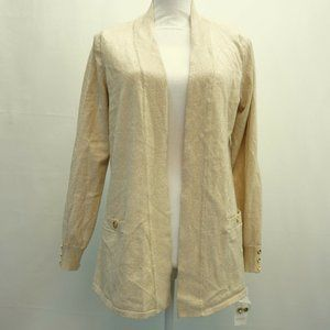Charter Club OPen Front Cardigan Beige Gold M